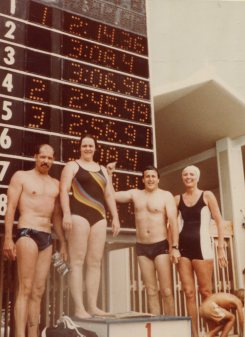 National Short Course Championships - Ft. Lauderdale - 28-31 May 1983. L to R: Rick Field, Ida Hlavacek, Ron Bank, Mary Lou Jaworski (Winning medley relay)
