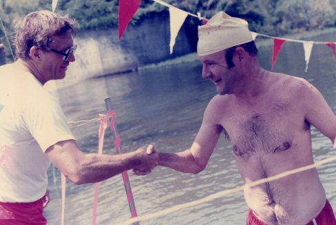 Congratulating Larry Williams - 4th Annual 'Right Distance Mile' Lake Swim - Lake Norrell - Aug 1985