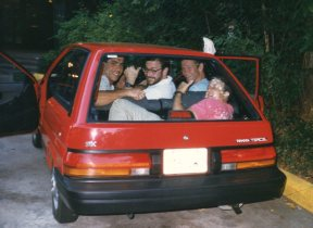 Nationals - Woodlands, Texas - 1987 - Marvin Schwartz, Chuck Letzig, David Gillanders, Ron Bank in trunk