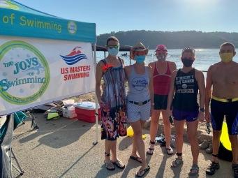 Wearing our masks pre-swim. Lindsay Meadows, Bonnie Adams, ?, Karyn Walker, Anthony Gallo