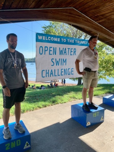 Scott Halliburton, 1st place in the 1K, and son Andrew Halliburton 2nd place.
