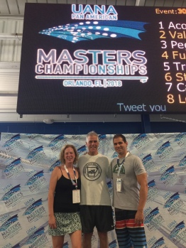 2018 Summer Pan Am Masters Nationals in Orlando, Florida. Carolyn Hyink, Marvin Schwarts, and Rinaldo SIntjago.